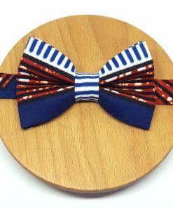 noeud papillon wax rayures bleu, rouge, blanc et noir