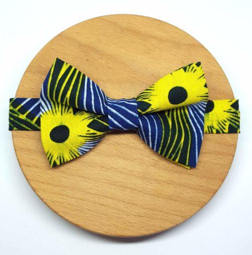 noeud papillon wax rayures jaune et bleu