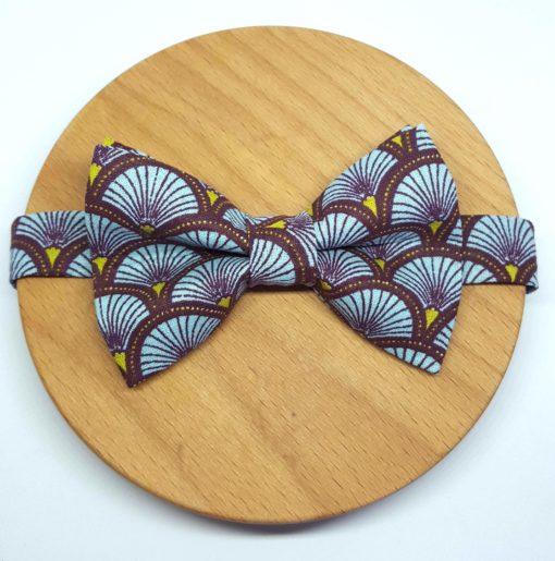 noeud papillon éventail japonais bleu marron et jaune