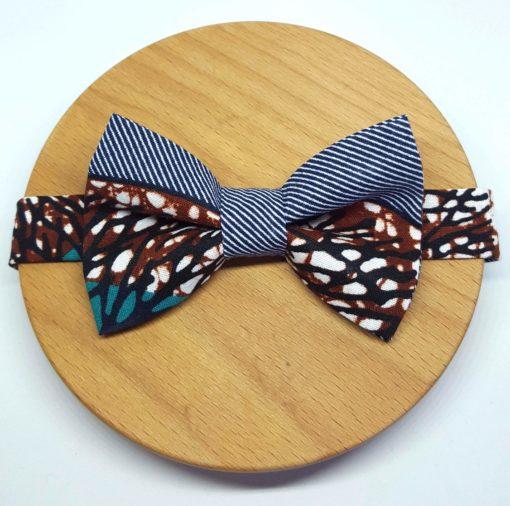 Noeud papillon wax rayures bleu marine, marron, bleu turquoise