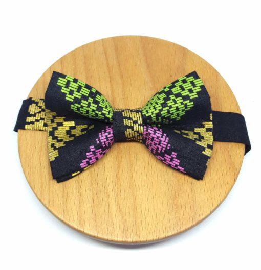 noeud papillon batik carreaux noir, vert, rose et doré