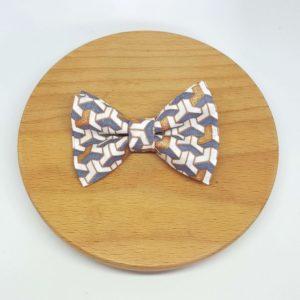 pince à noeud barrette gris cuivré blanc