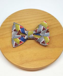 pince à noeud barrette coton triangle jaune rouge bleu