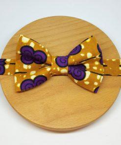 noeud papillon wax fleur violet jaune marron