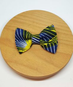 pince à noeud barrette wax pagne jaune bleu