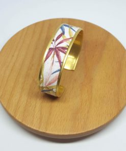 bracelet manchette laiton doré coton feuilles végétal rose bleu jaune