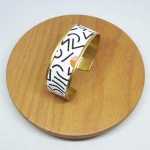 bracelet manchette cootn laiton doré années 80 blanc noir couleurs
