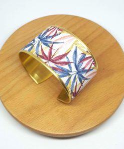 bracelet manchette laiton doré coton feuilles rose bleu jaune rouge