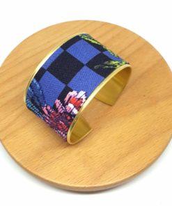 bracelet manchette laiton doré coton carreaux fleurs bleu noir rose rouge vert