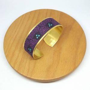 bracelet manchette laiton doré coton violet bleu turquoise