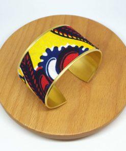 bracelet manchette laiton doré coton wax pagne escargot jaune rouge noir