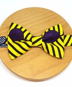 noeud papillon wax pagne rayures ballons jaune noir violet