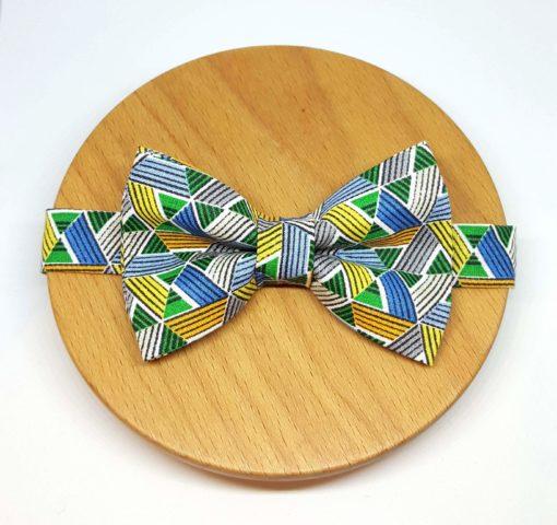 noeud papillon triangle géométrique vert bleu jaune gris
