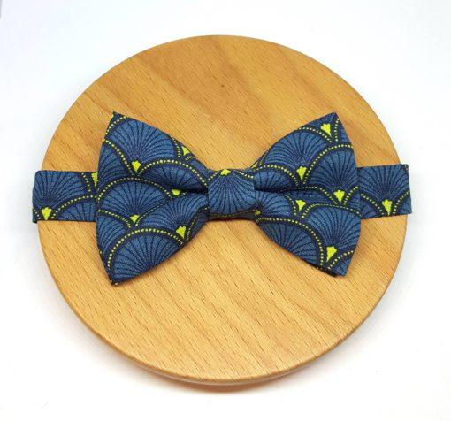 noeud papillon éventail bleu jaune