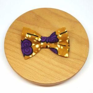 pince à noeud barrette wax pagne marron violet fleurs