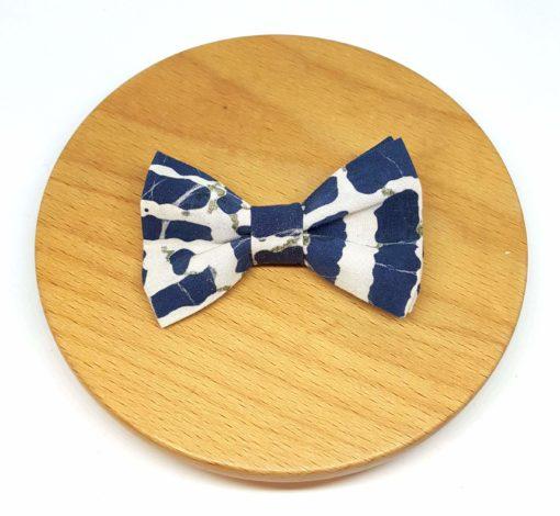 pince à noeud barrette coton batik bleu blanc