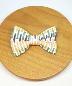 pince à noeud barrette coton rayures vert jaune rose gris