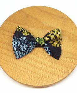 pince à noeud barrette batik coton noir doré couleurs