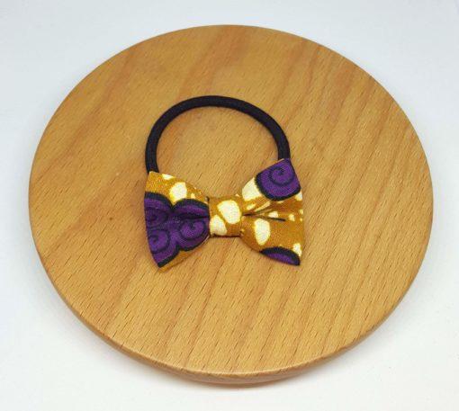 élastique noeud accessoire cheveux wax pagne marron jaune violet fleurs