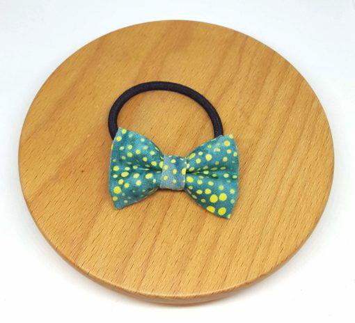 élastique noeud batik vert jaune pois