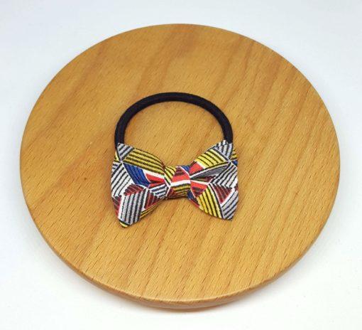élastique noeud triangle géométrique rouge jaune bleu