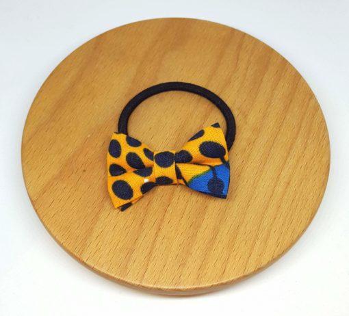 élastique noeud wax pois orange bleu