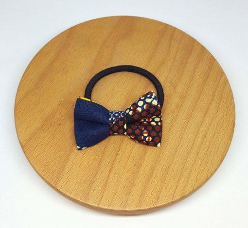 élastique noeud wax coton bleu marron jaune