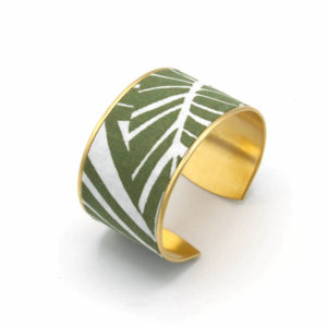 bracelet manchette large feuille jungle blanc vert