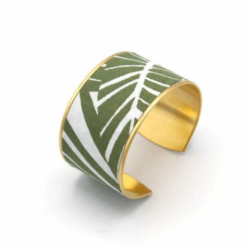 bracelet manchette large feuille jungle blanc vert