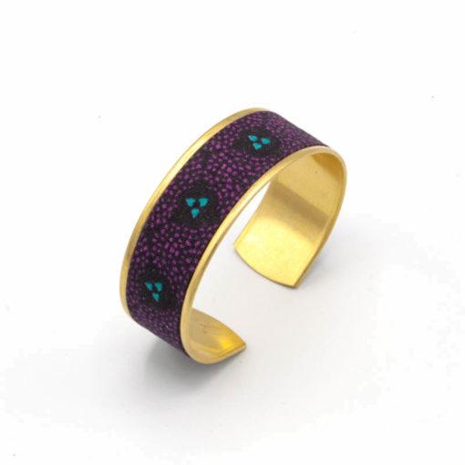 bracelet manchette laiton tissu violet bleu turquoise