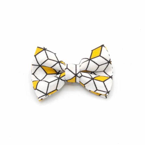 pince noeud cube jaune blanc