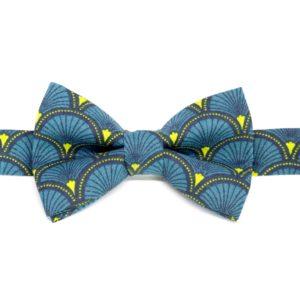 noeud papillon eventail bleu jaune
