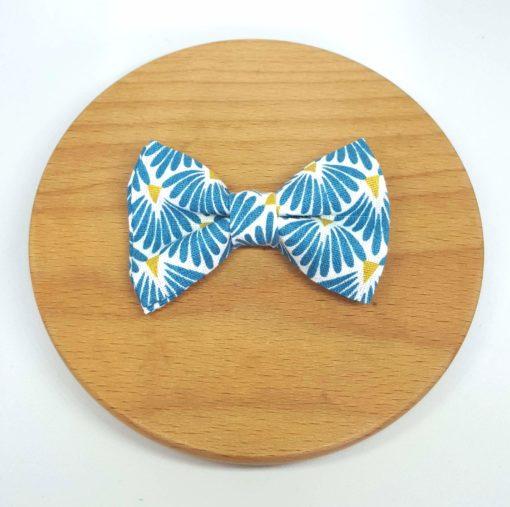 pince à noeud barrette éventail bleu jaune