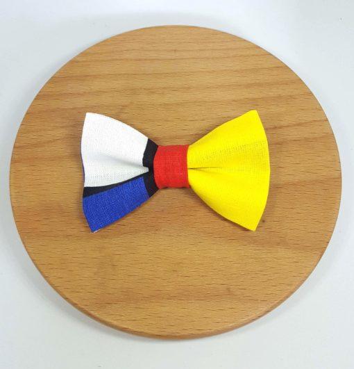 pince à noeud barrette mondrian bleu rouge jaune noir