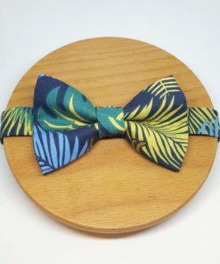 noeud papillon jungle feuille animaux vert, jaune et bleu