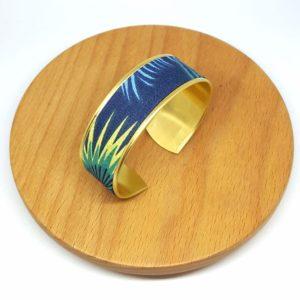 bracelet manchette laiton doré coton jungle feuilles bleu vert