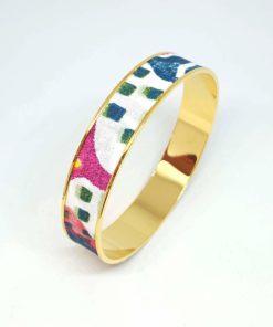 bracelet jonc doré coton fleurs animaux rose bleu blanc vert bleu