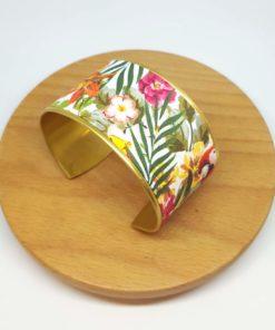 bracelet manchette jungle feuille, fleurs, vert, rose, jaune et multicolor