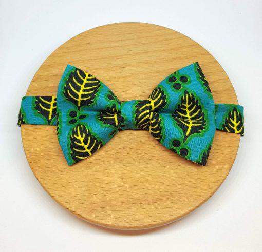 noeud papillon wax feuilles bleu vert jaune et noir