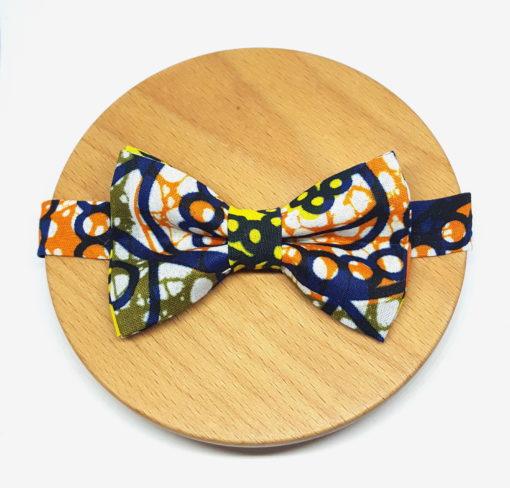 noeud papillon wax bleu orange jaune bleu