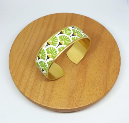 bracelet manchette laiton doré coton éventail vert anis