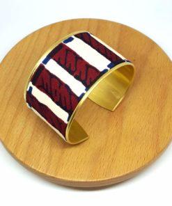 bracelet manchette wax rayures laiton doré coton rouge bordeaux bleu beige