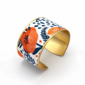 bracelet manchette laiton doré tissu coquelicot orange bleu marine