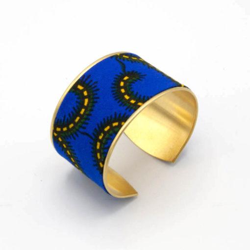 bracelet manchette large laiton tissu wax bleu jaune