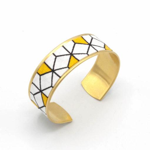 bracelet manchette tissu cube graphique jaune blanc noir