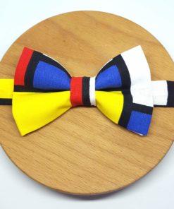 noeud papillon carreaux mondrian peintre bleu, rouge, jaune, blanc et noir