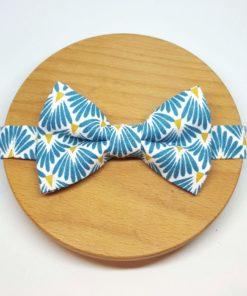 noeud papillon éventail bleu jaune blanc