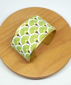 bracelet manchette éventail japonais vert anis jaune blanc
