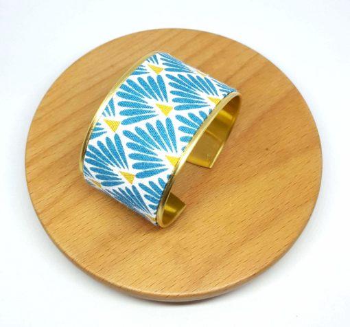 bracelet manchette éventail bleu jaune blanc