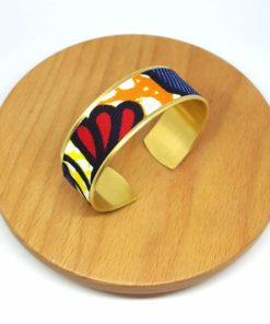 bracelet manchette laiton doré wax coton fleurs bleu orange rouge